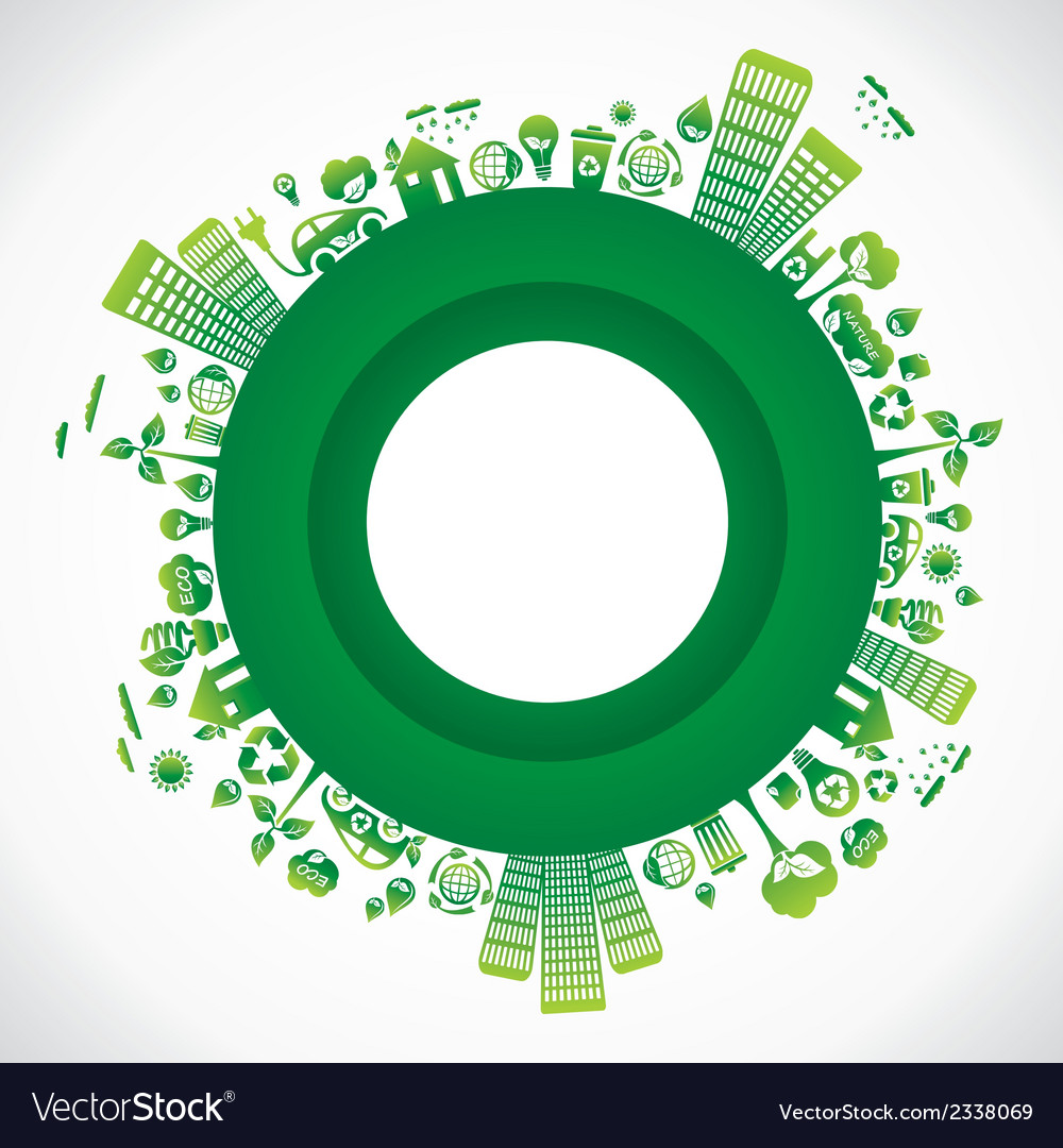 Green city in round style vector | Price: 1 Credit (USD $1)