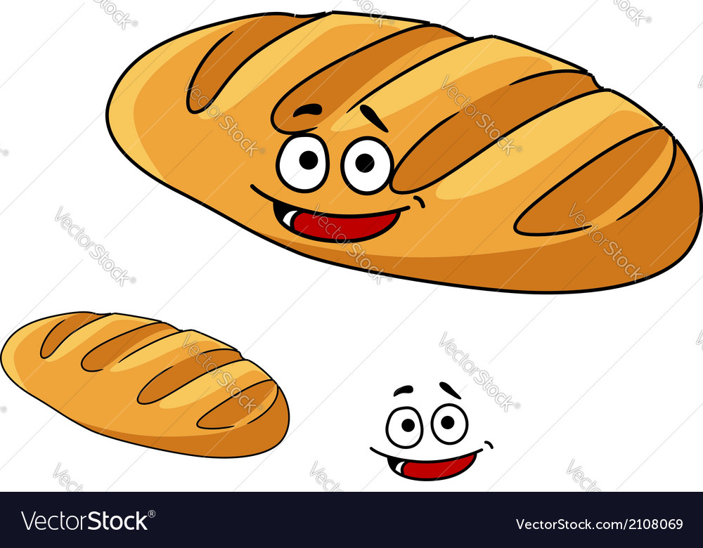 Happy baked crusty french baguette vector | Price: 1 Credit (USD $1)