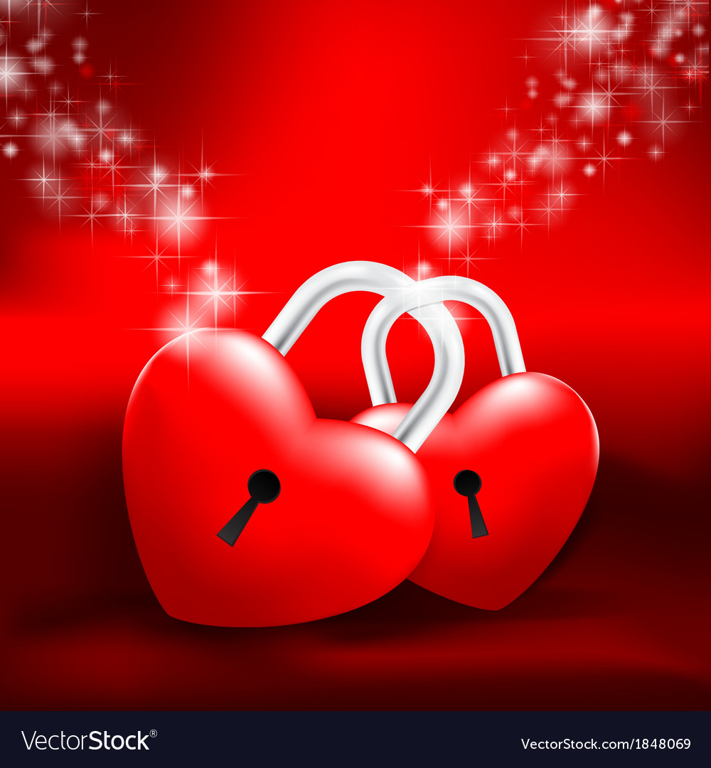 Locked heart on red background vector | Price: 1 Credit (USD $1)