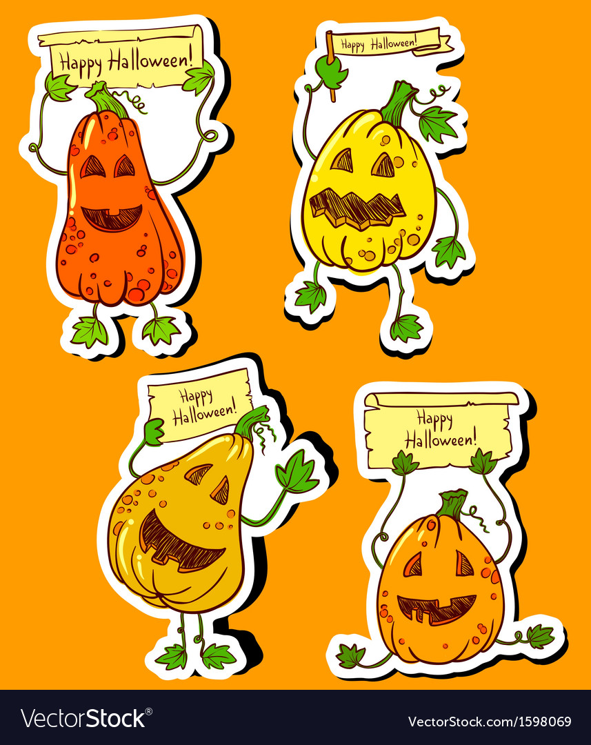 Pumpkins stickers vector | Price: 1 Credit (USD $1)