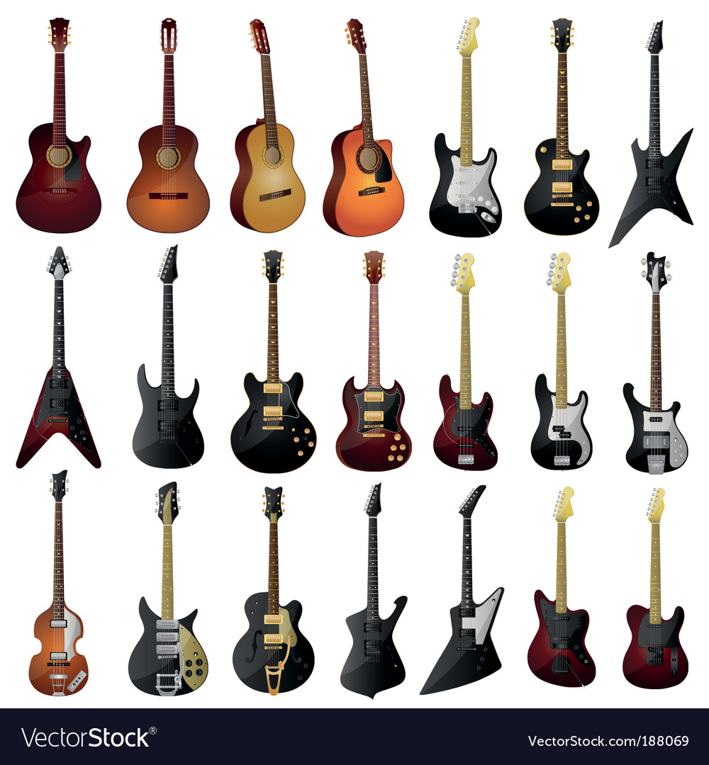 Set of isolated guitars vector | Price: 5 Credit (USD $5)