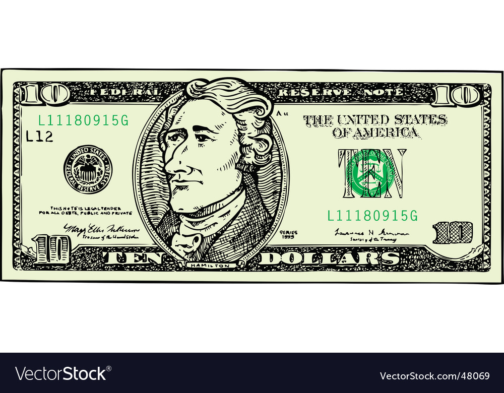 Ten dollar bill vector | Price: 1 Credit (USD $1)