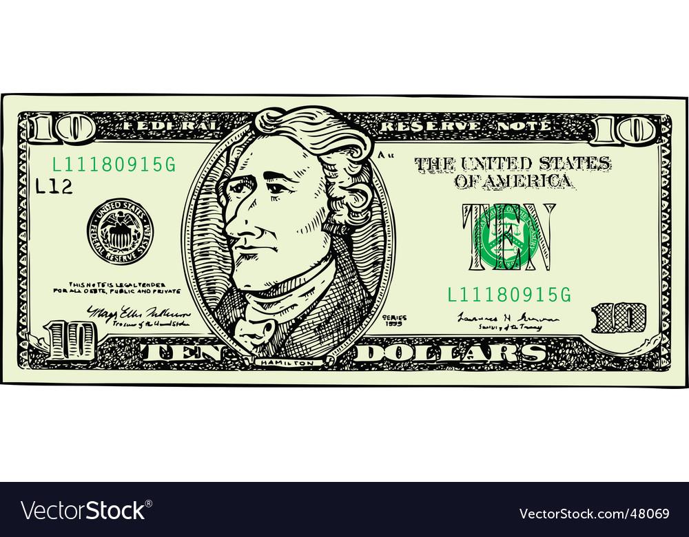 Ten dollar bill vector | Price: 1 Credit (USD $1)