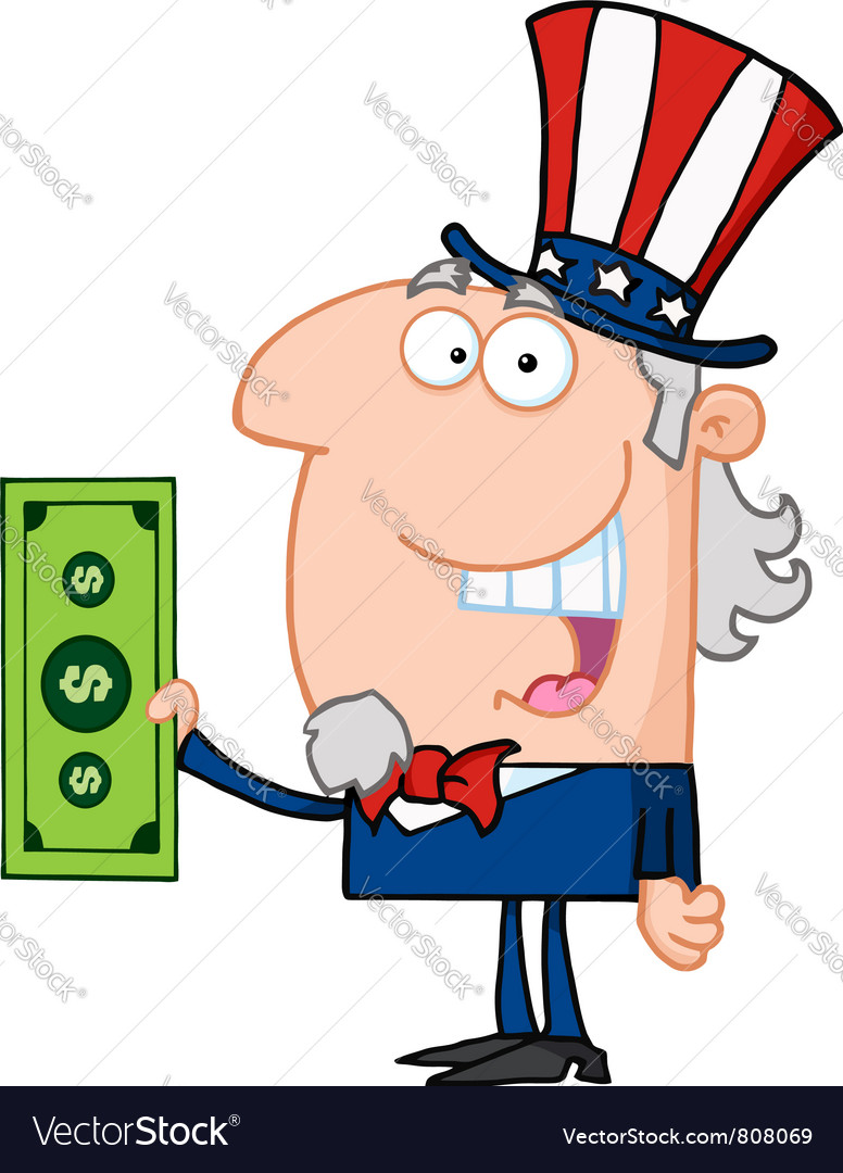 Uncle sam with holding a dollar bill vector | Price: 1 Credit (USD $1)