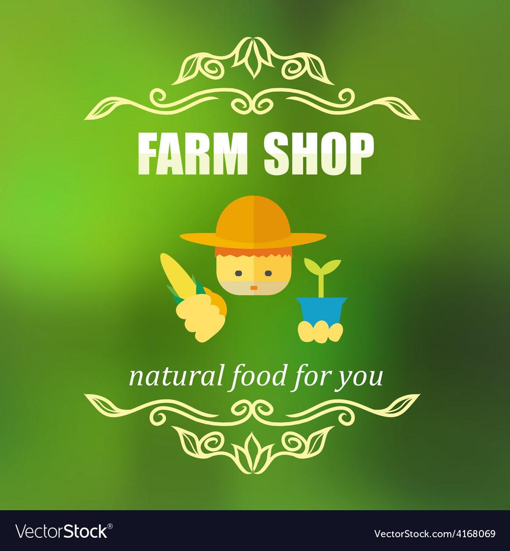 Vintage farm shop badge vector | Price: 1 Credit (USD $1)