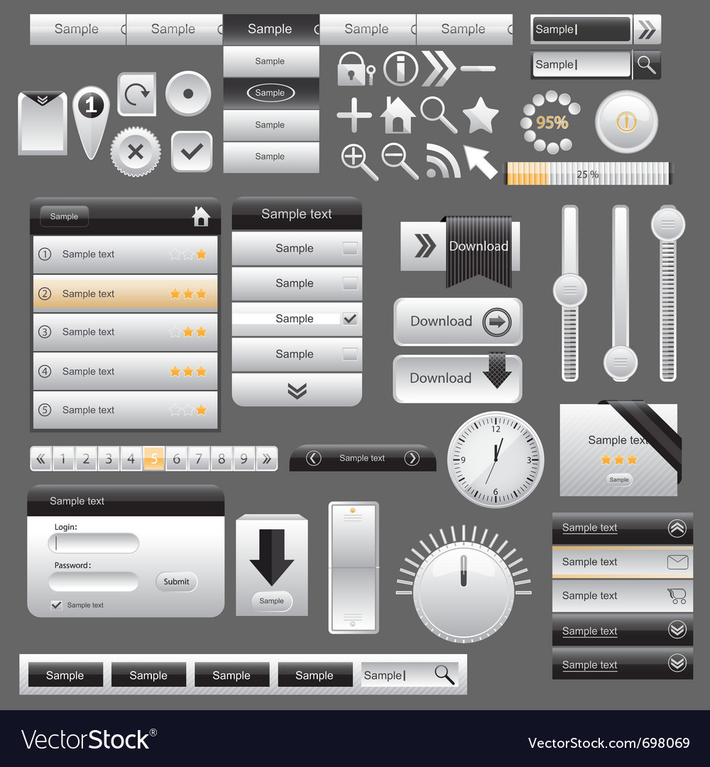 Web and mobile interface elements vector | Price: 1 Credit (USD $1)
