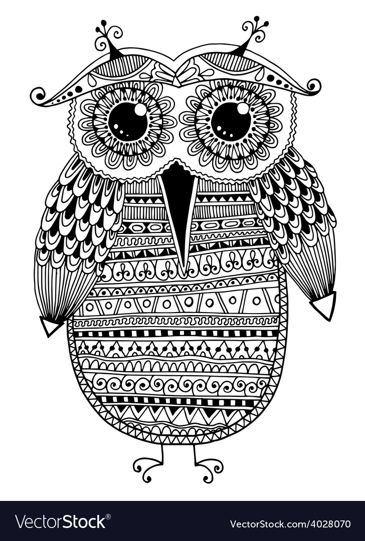 Black and white original ethnic owl ink drawing vector | Price: 1 Credit (USD $1)