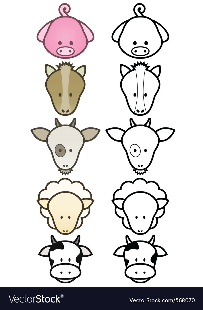 Cartoon farm animals set vector | Price: 1 Credit (USD $1)