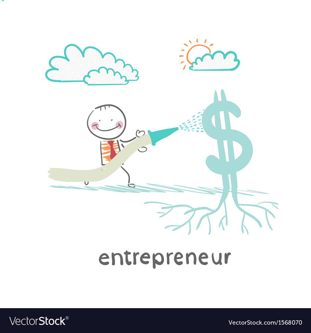 Entrepreneur watering from a hose dollar vector | Price: 1 Credit (USD $1)