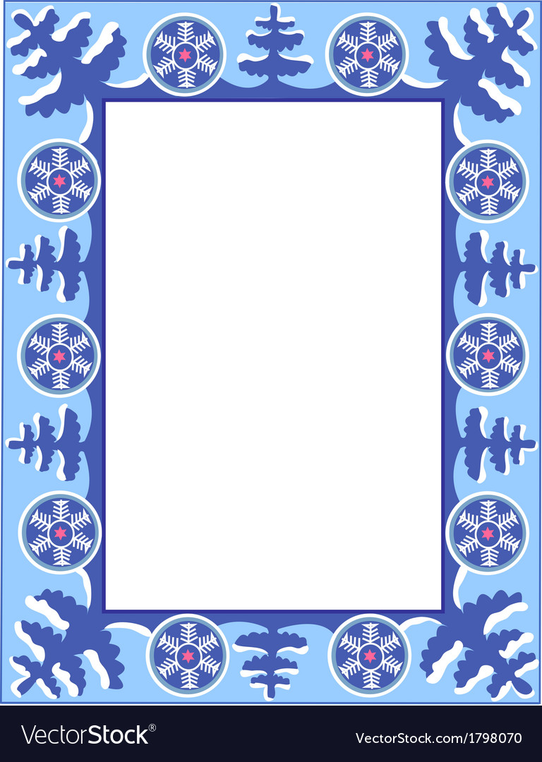 Frame with trees and snowflakes vector | Price: 1 Credit (USD $1)