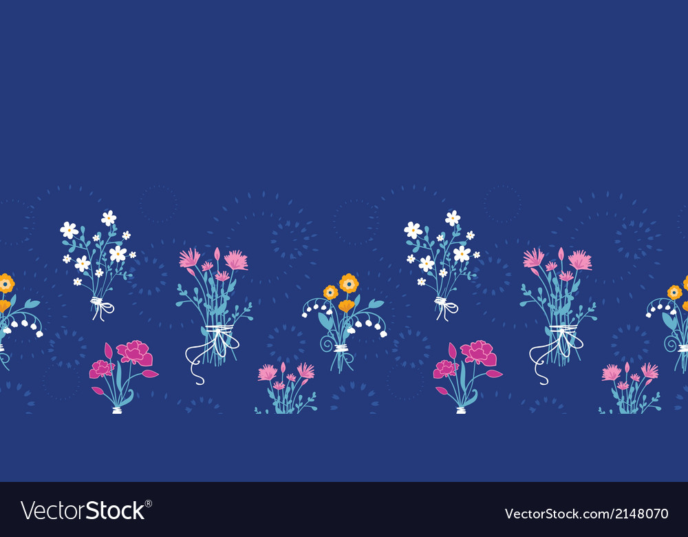 Fresh flower bouquets horizontal seamless pattern vector | Price: 1 Credit (USD $1)