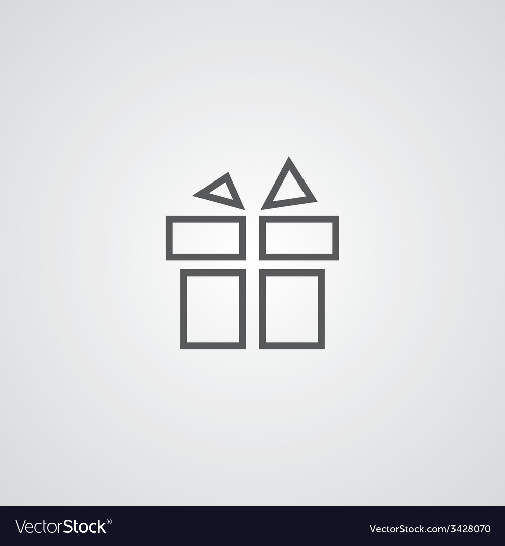 Gift outline symbol dark on white background logo vector | Price: 1 Credit (USD $1)