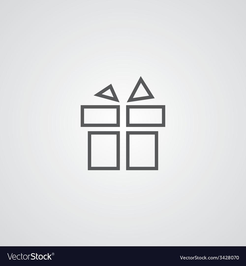 Gift outline symbol dark on white background logo vector   Price: 1 Credit (USD $1)