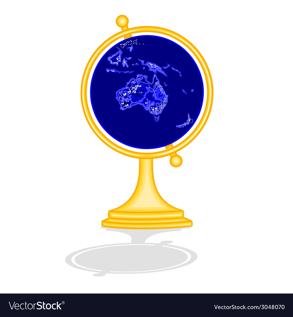 Globe australia at night as engraving vintage vector | Price: 1 Credit (USD $1)