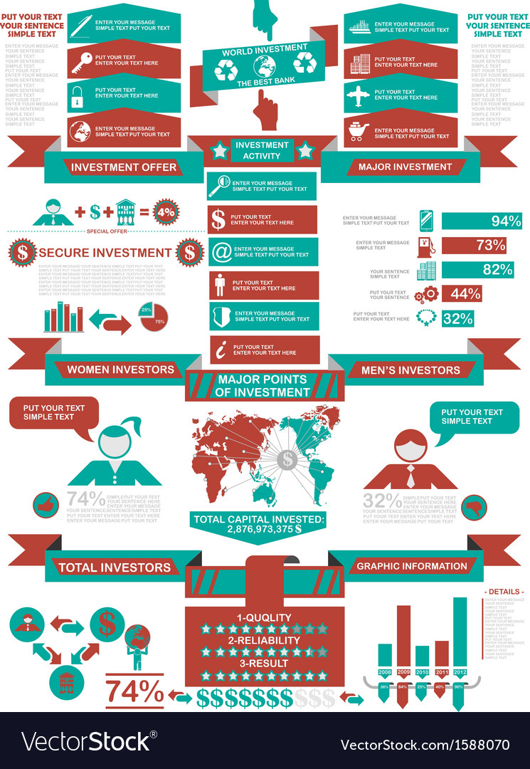 Infographic demographics business red vector | Price: 1 Credit (USD $1)