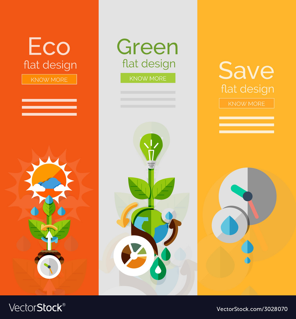 Set of flat design eco concepts vector | Price: 1 Credit (USD $1)