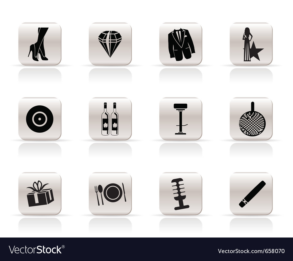 Simple luxury party and reception icons vector | Price: 1 Credit (USD $1)