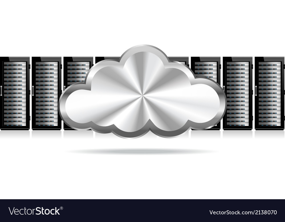 Three servers cloud vector | Price: 1 Credit (USD $1)