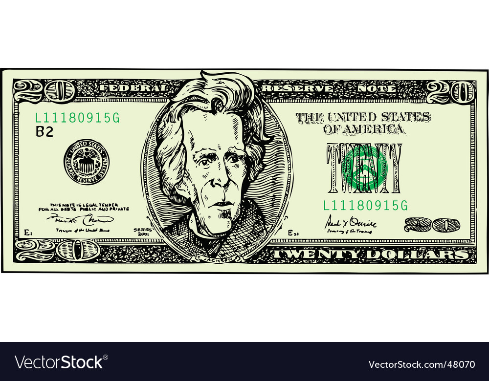 Twenty dollar bill vector | Price: 1 Credit (USD $1)