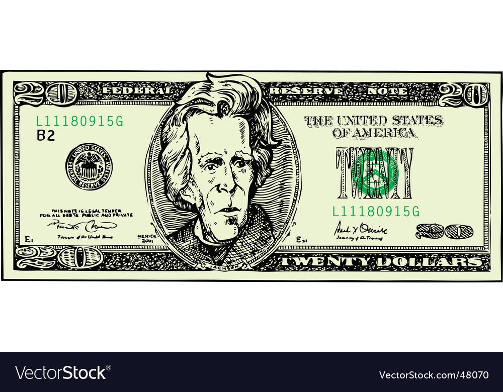 Twenty dollar bill vector | Price: 1 Credit (USD $1)