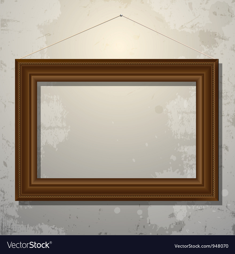 Wooden empty frame of picture on old wall vector | Price: 1 Credit (USD $1)