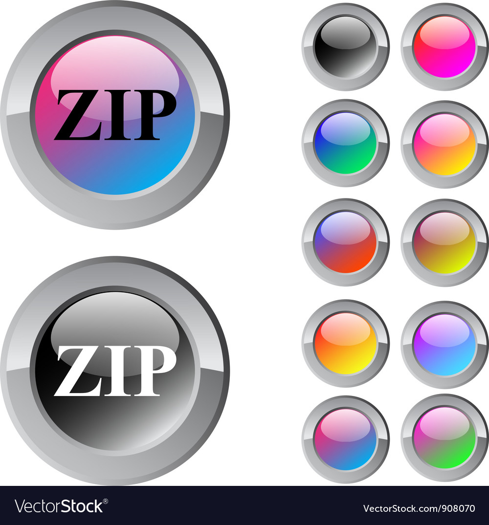 Zip multicolor round button vector | Price: 1 Credit (USD $1)