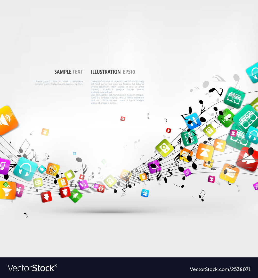 Abstract music background with notes and app icons vector   Price: 1 Credit (USD $1)