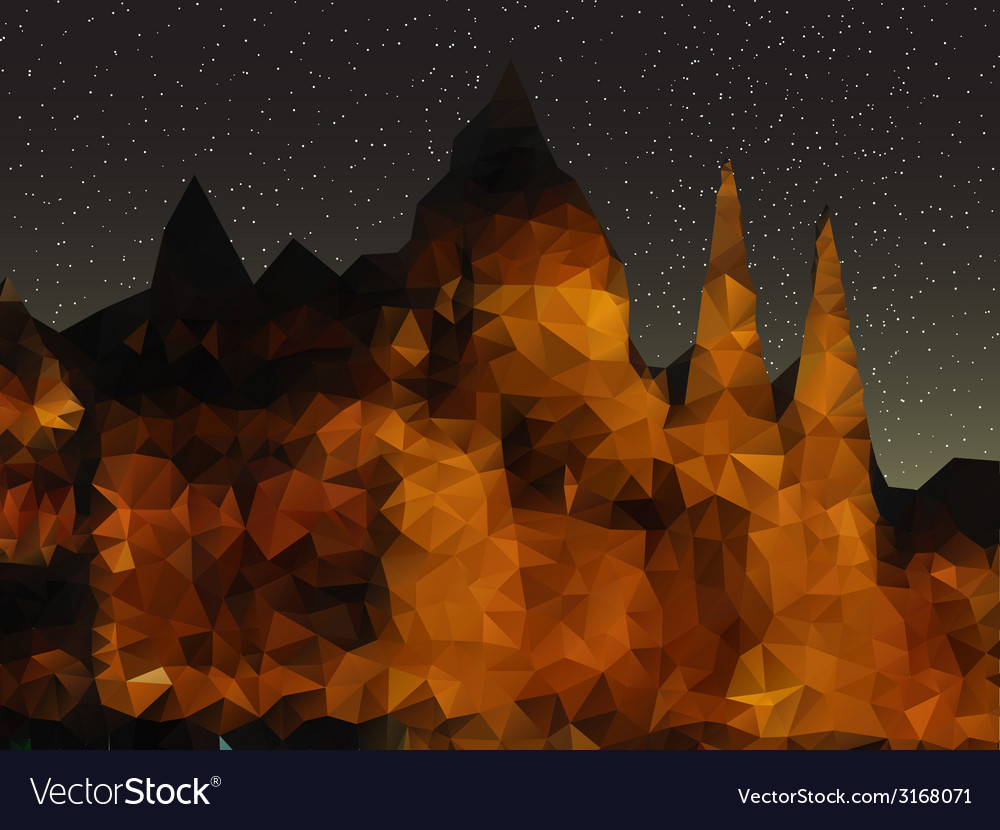 Beautiful night landscape triangle design vector | Price: 1 Credit (USD $1)