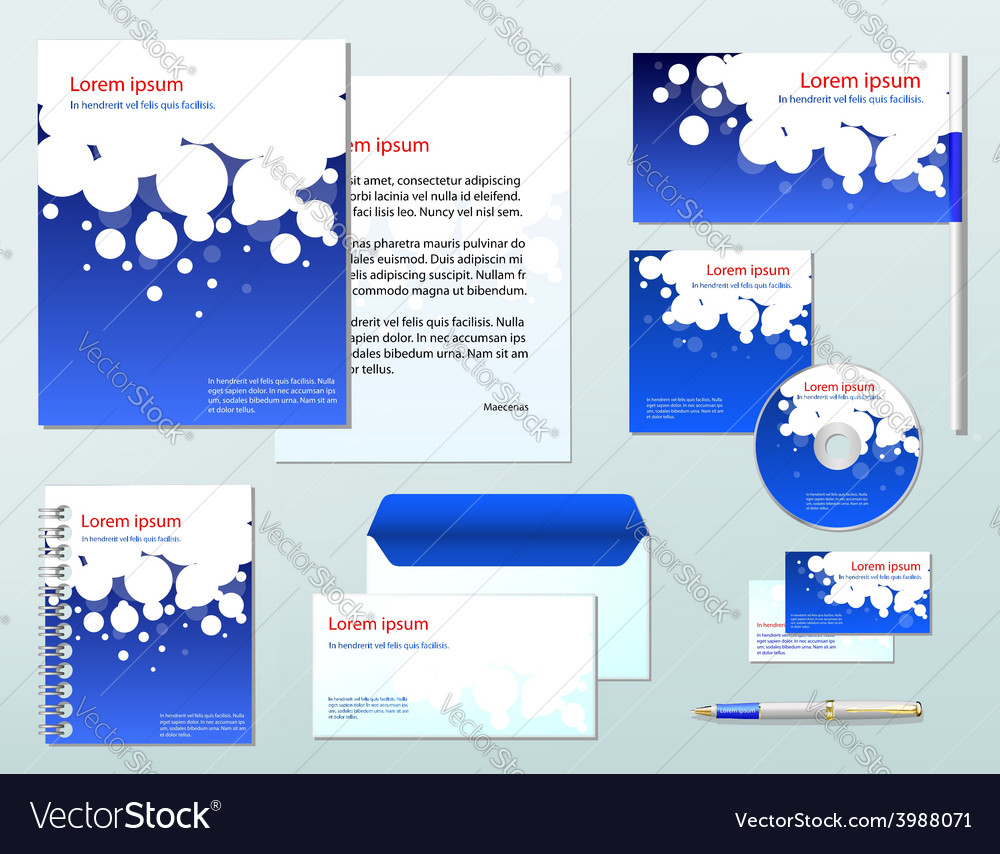 Blue corporate identity template company style for vector | Price: 1 Credit (USD $1)