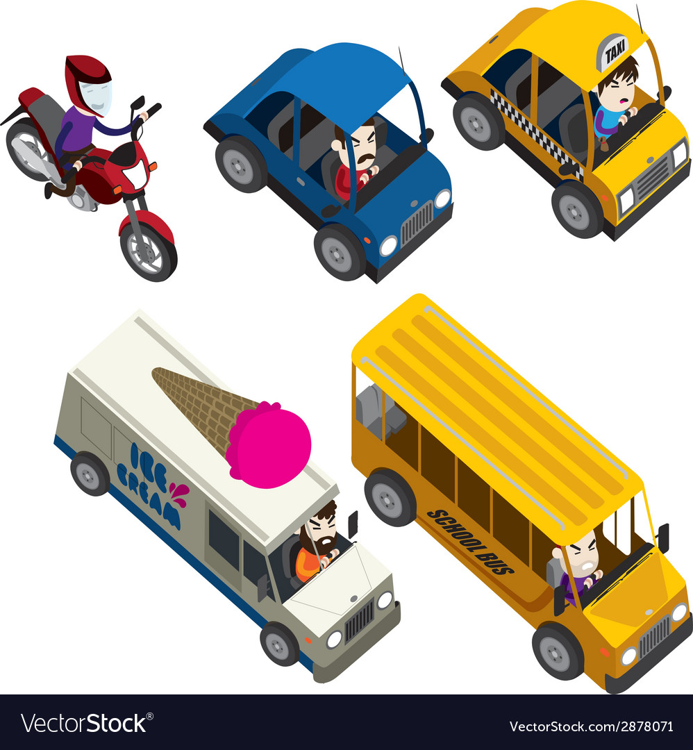 Cars motorcycles buses and truck isometric set vector | Price: 1 Credit (USD $1)