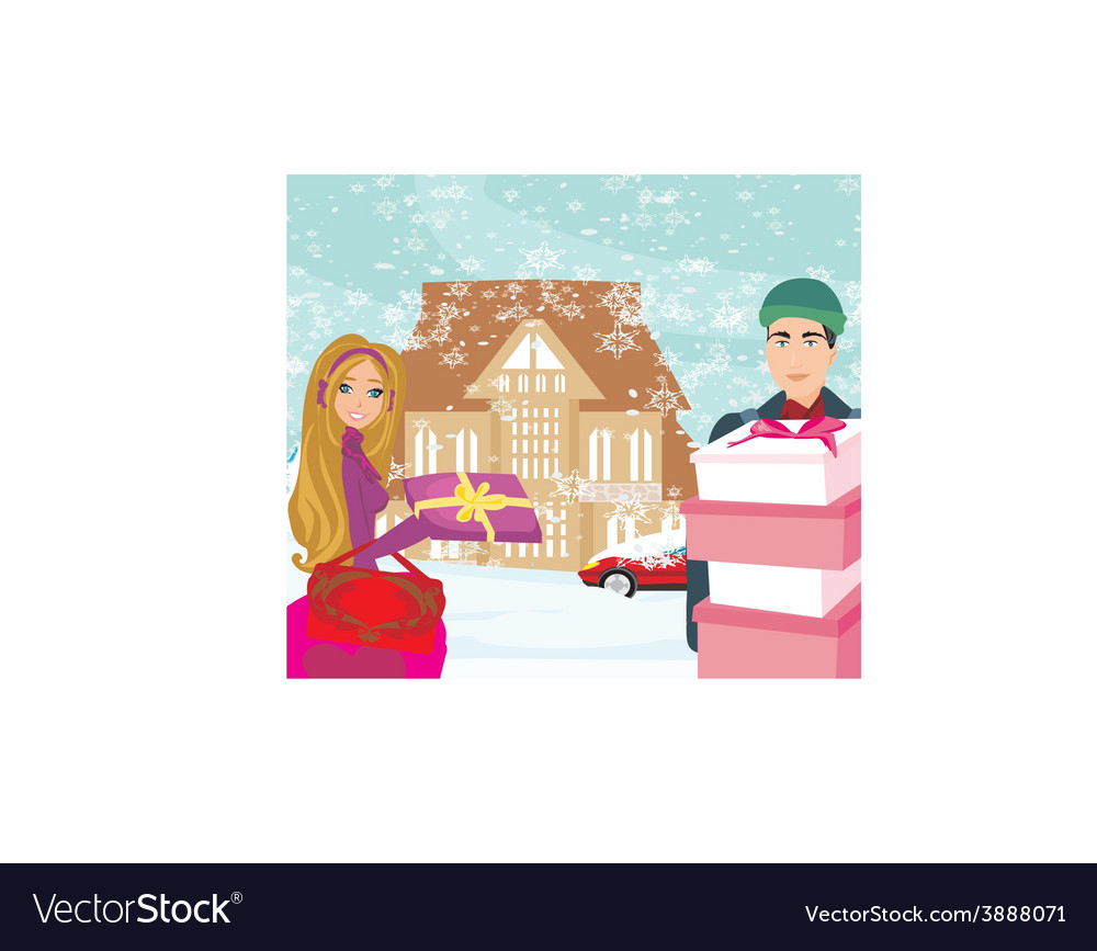 Christmas shopping on a snowy day vector   Price: 1 Credit (USD $1)
