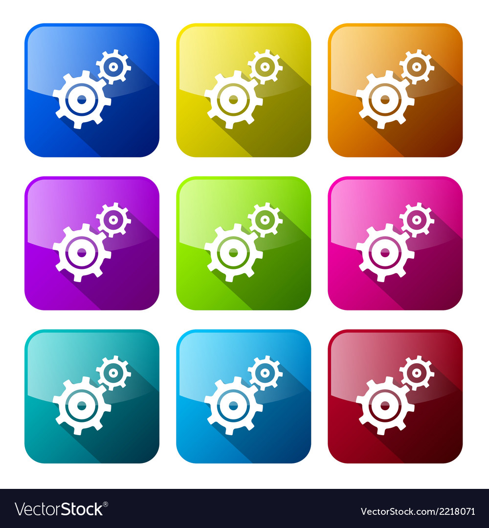 Cogs - gears colorful icons set isolated on white vector | Price: 1 Credit (USD $1)