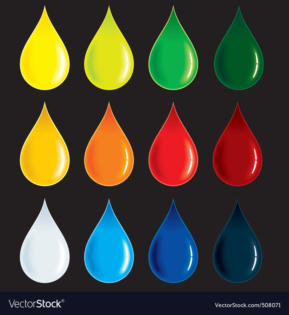 Glossy colorful drops vector | Price: 1 Credit (USD $1)