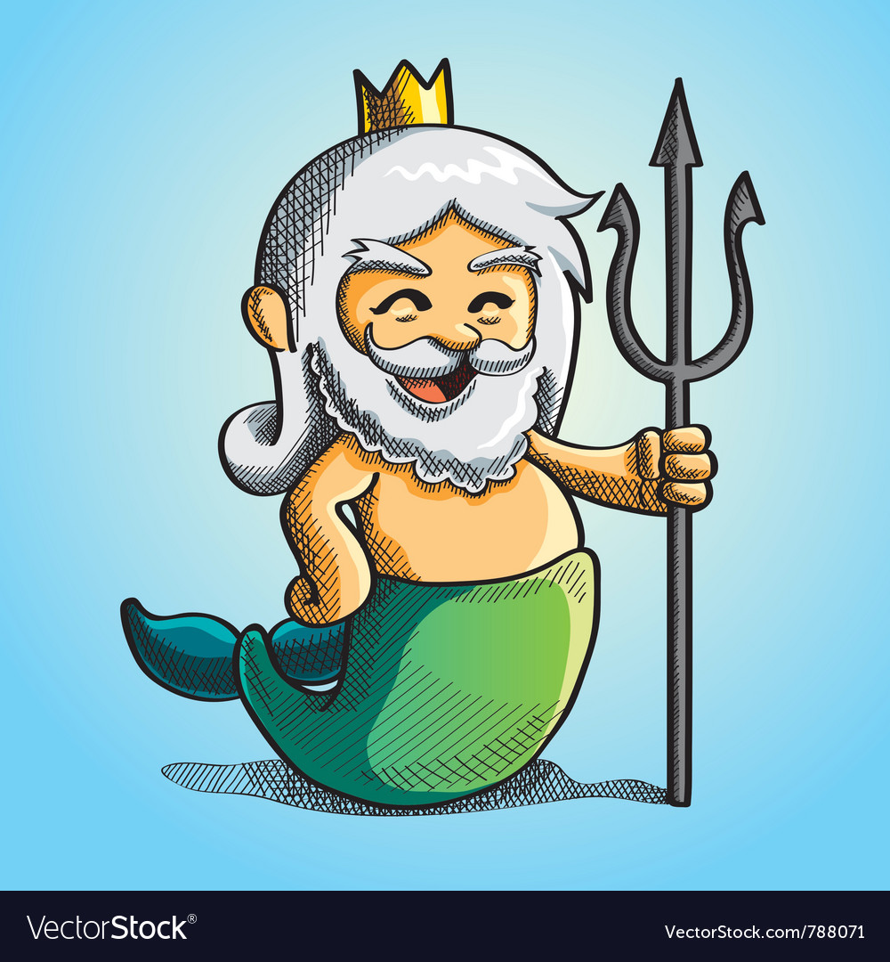 Happy cute poseidon vector | Price: 3 Credit (USD $3)