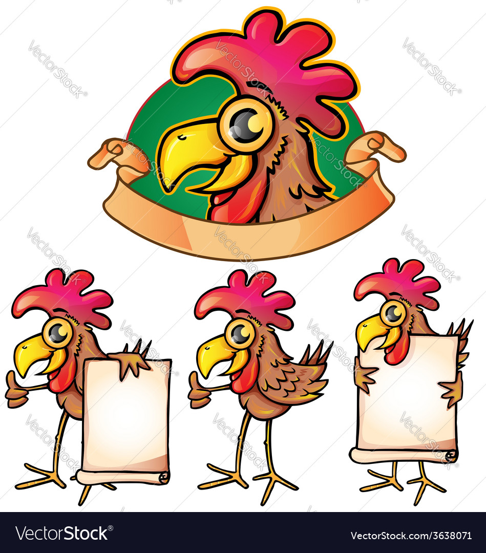 Hen cartoon set vector | Price: 1 Credit (USD $1)