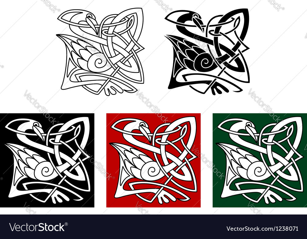 Heron bird in celtic style vector | Price: 1 Credit (USD $1)
