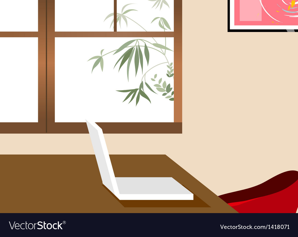 Home office laptop background vector | Price: 1 Credit (USD $1)