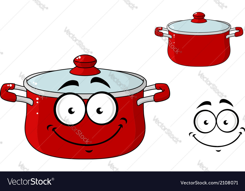 Little red cartoon cooking saucepan with a lid vector | Price: 1 Credit (USD $1)