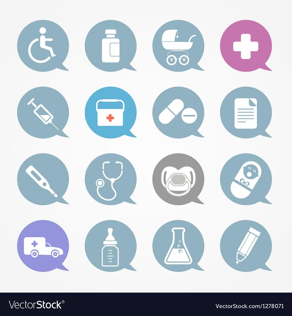 Medicine web icons set in color speech clouds vector | Price: 1 Credit (USD $1)