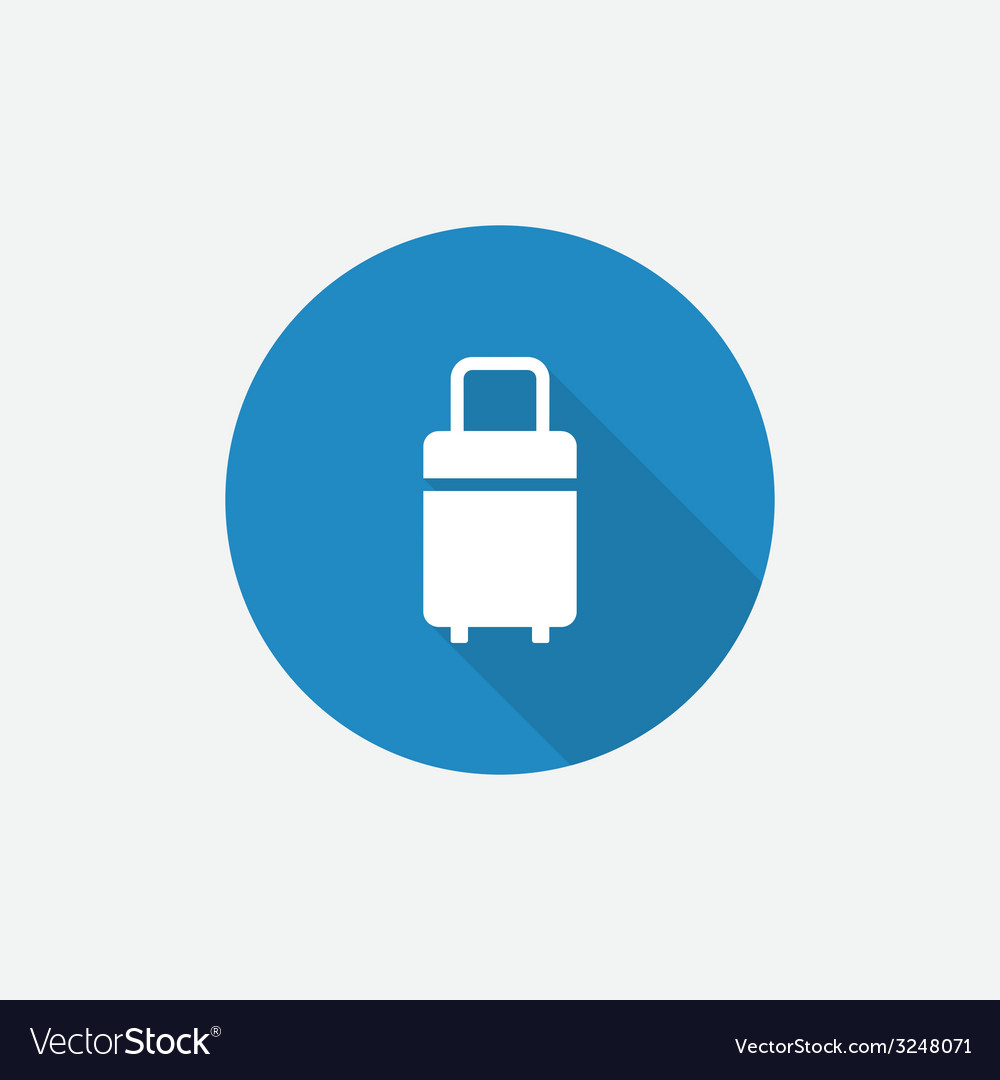 Travel bag flat blue simple icon with long shadow vector | Price: 1 Credit (USD $1)