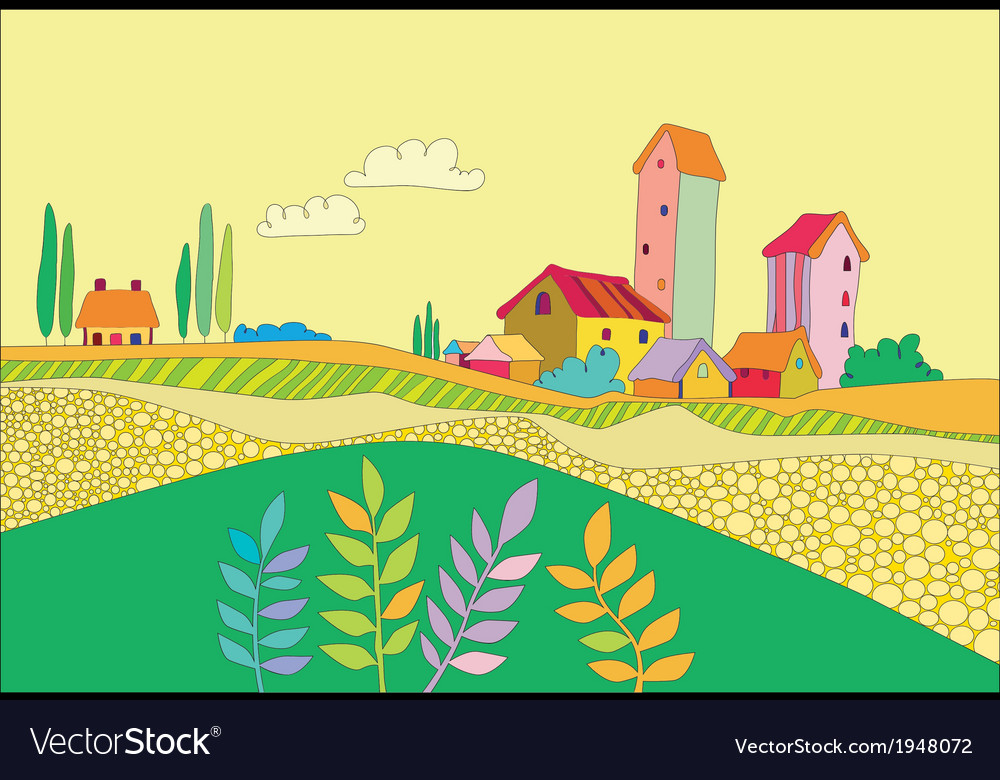 A small village vector | Price: 1 Credit (USD $1)