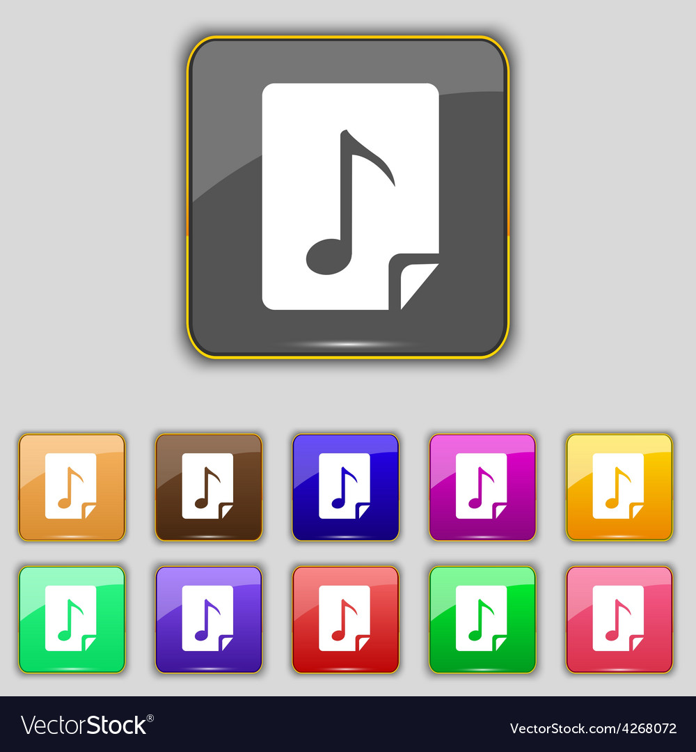 Audio mp3 file icon sign set with eleven colored vector | Price: 1 Credit (USD $1)