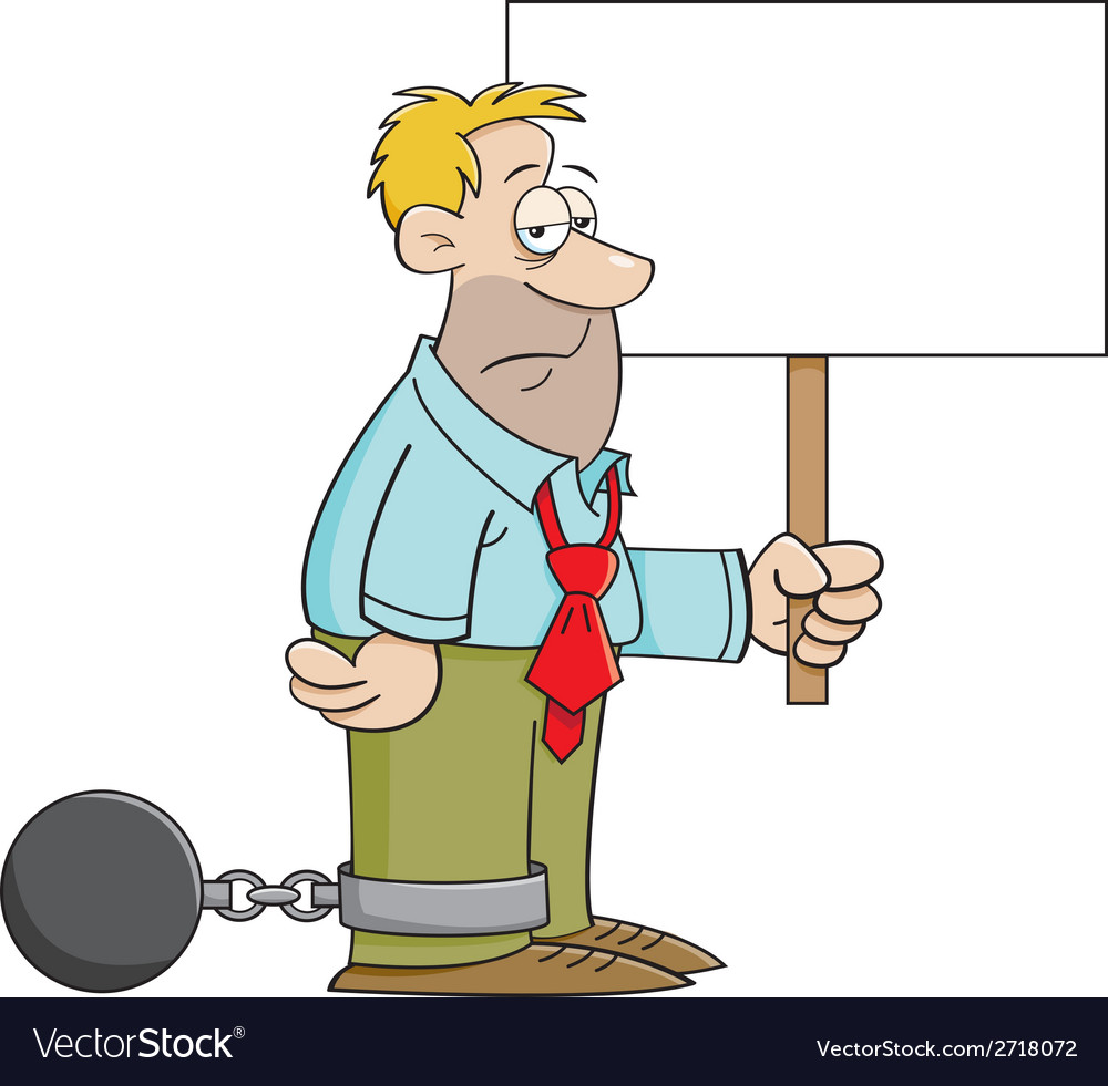 Cartoon ball and chain man with a sign vector | Price: 1 Credit (USD $1)