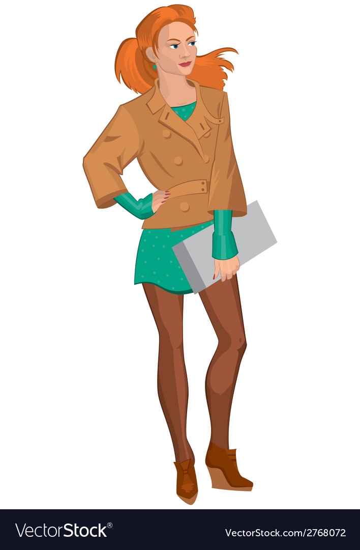 Cartoon young woman in brown jacket and green vector | Price: 1 Credit (USD $1)