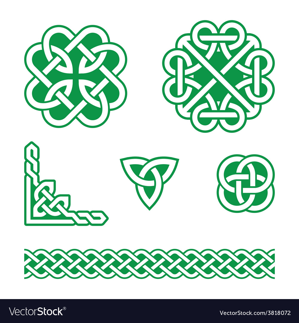 Celtic knots green patterns - vector | Price: 1 Credit (USD $1)