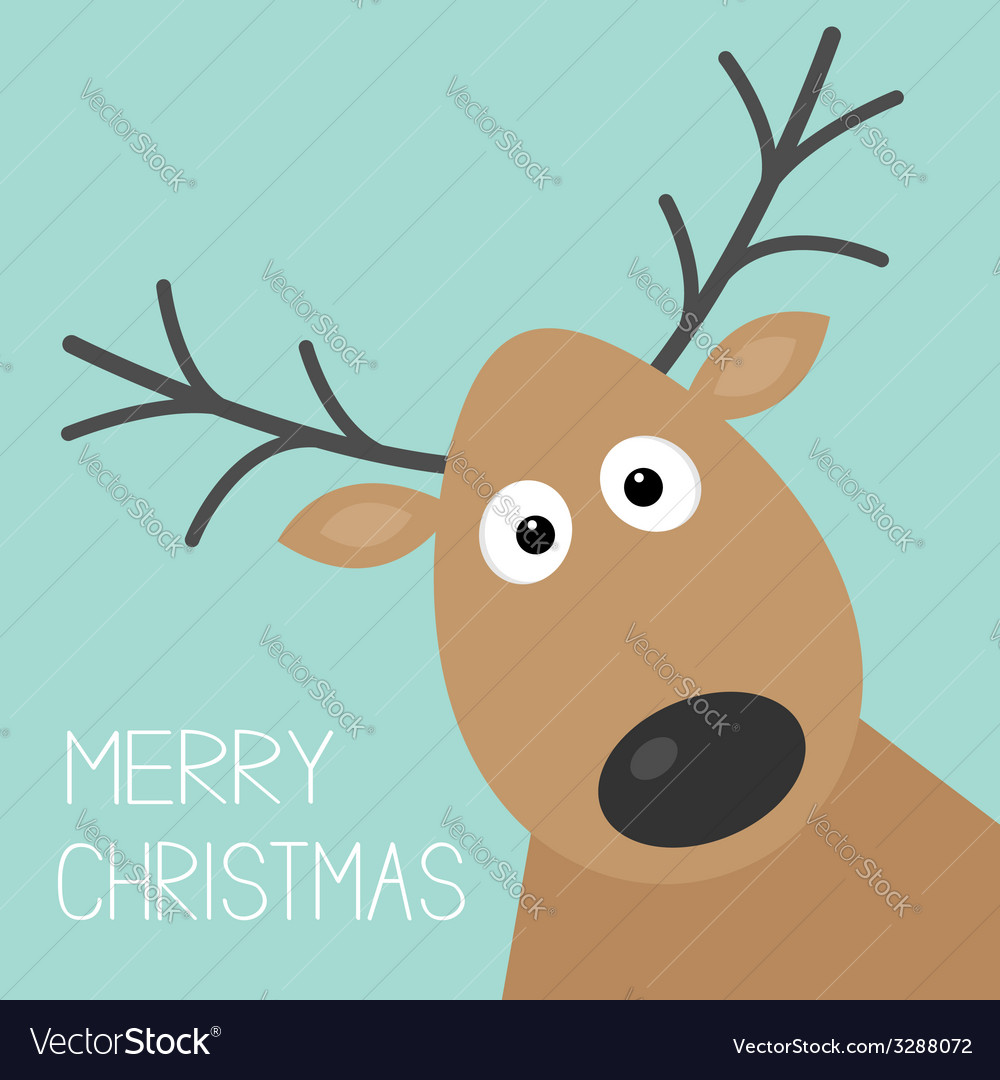 Cute cartoon deer face with horn merry christmas vector | Price: 1 Credit (USD $1)