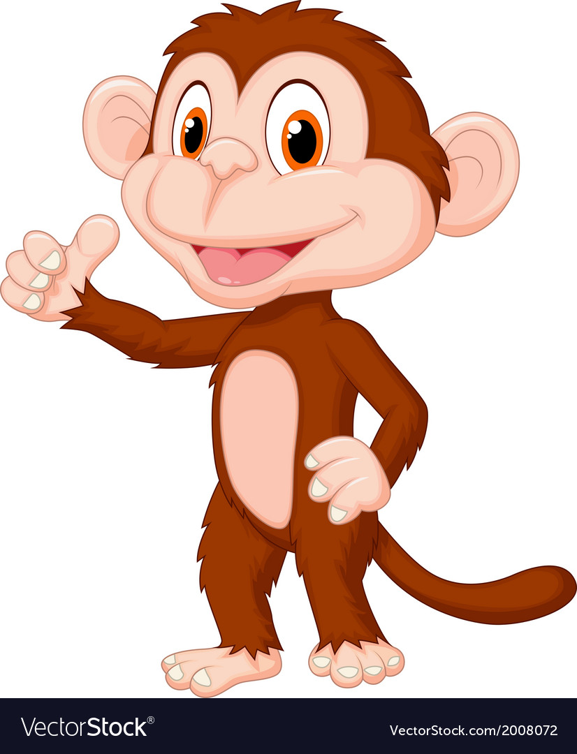 Cute monkey cartoon giving thumb up vector | Price: 1 Credit (USD $1)