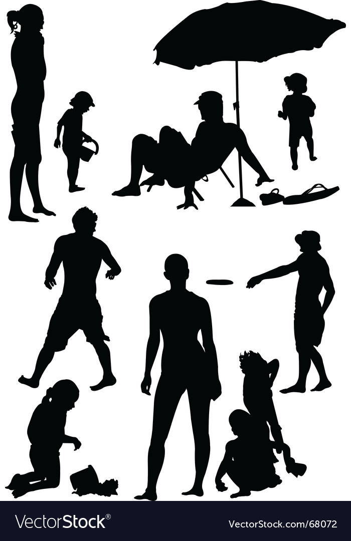 Family beach silhouettes vector | Price: 1 Credit (USD $1)