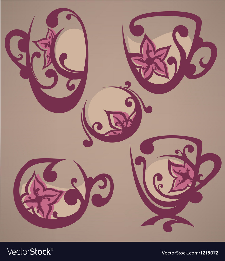 Floral tea cups and drink vector | Price: 1 Credit (USD $1)