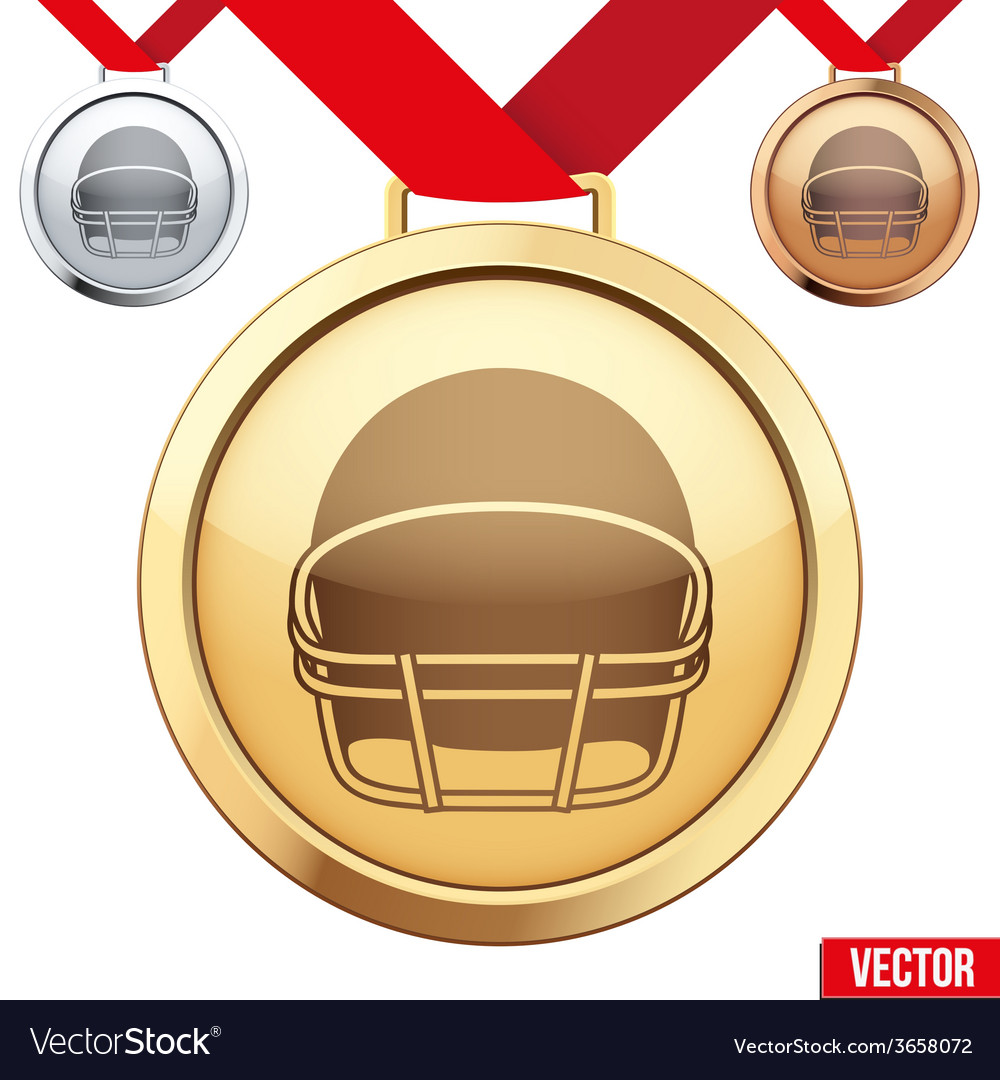 Gold medal with the symbol of a football inside vector | Price: 1 Credit (USD $1)
